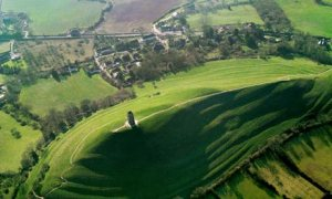 Country Diary : Aerial View Of Gog And Magog, Glastonbury Tor, Chalice Well, Glastonbury